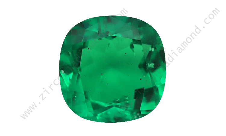 Zirmond cushion cut lab created synthetic emerald 1