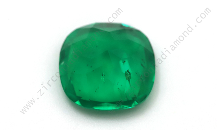 Zirmond cushion cut lab created synthetic emerald 2