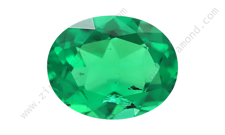 Zirmond oval cut lab created synthetic emerald 1