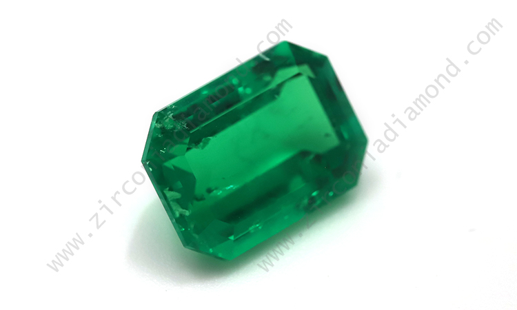 Zirmond synthetic emerald cut emerald