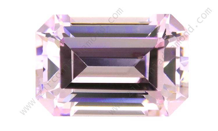 zirmond emerald cut light pink cz