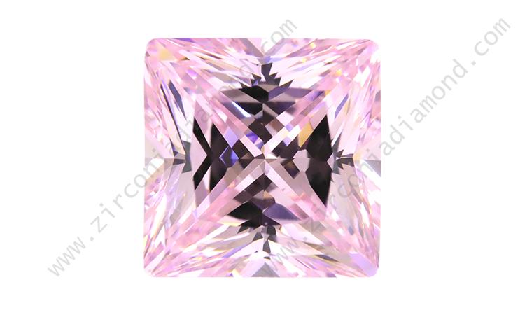 zirmond princess cut light pink cz