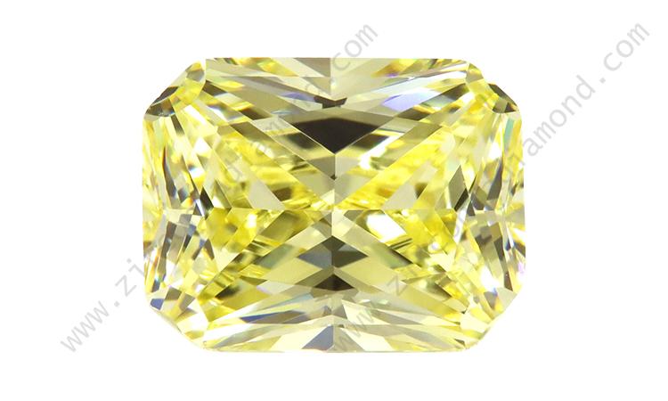 zirmond rectangle cut light yellow CZ